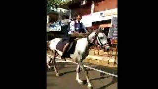 Video of Kerala Girl Riding a Horse to Board Exams | Girl Student Riding a Horse