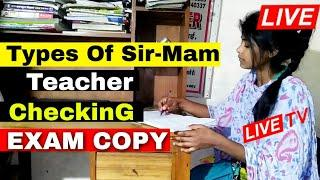 Types Of Teacher Live Exam Copy Checking || Board Exam Copy Checking Video | How to check board copy