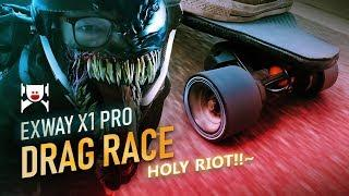 Exway X1 Pro Riot vs Boosted Board DRAG RACE - Also: Riot Prototype News