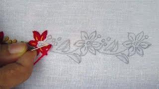 Hand Embroidery, Beautiful Border Line Embroidery Design, Nakshi Kantha Border
