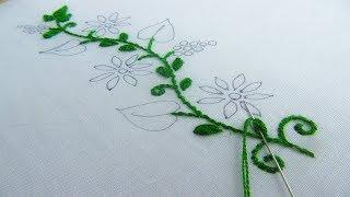 Hand Embroidery; New Border Line Design; Oyster Stitch/Buttonhole Stitch