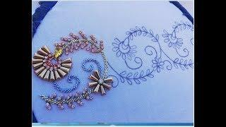Hand embroidery border line with long pearl