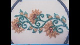 Hand embroidery ,hand embroidery design,border line embroidery with beads and stones chain