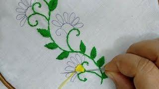Latest borderline design for saree,  dress    hand embroidery easy border design .