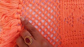 Crochet border line net for shawl tutorail // how to make Crochet net / Hanmade crochet work :