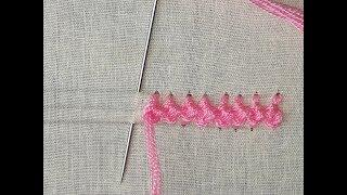 Hand embroidery Border line design | Border line design tutorial