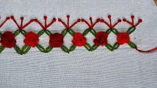 Beautiful border line design for kameez | Hand embroidery border line design.