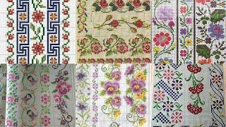 Beautiful Cross Stitch New patterns for bedsheet and table covers borderline