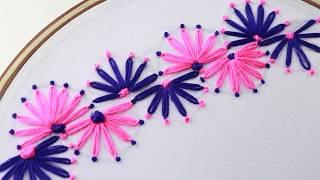Hand Embroidery, Decorative Border Line Design, Lazy Daisy Stitch with French Knot