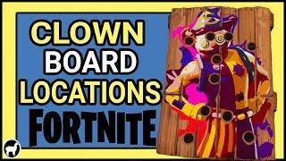Fortnite Clown Board Locations Week 9 |  Score 10 or More on Carnival Clown Boards