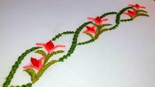 Hand Embroidery : border design for dresses and sari | border line # 71.