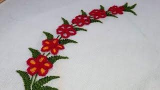 Hand embroidery : border design | Stitches for border line | lazy daisy stitch