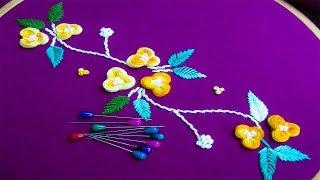 Hand Embroidery Amazing Sewing Hack# Border Line Embroidery#Easy Flower Embroidery Trick