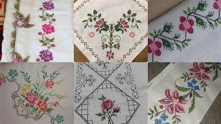 Very Beautiful Cross Stitch New Patterns For Bedsheet And Table Covers Borderline