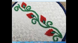 Hand embroidery,Border line design with beads