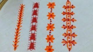 Hand embroidery beautiful  border line stitch,Amazing border embroidery,New border line embroidery