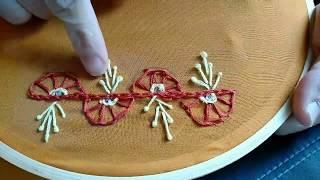 Hand embroidery border line design/ saree Border design in hand embroidery