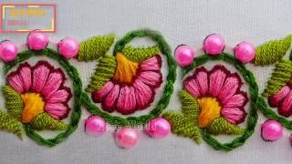 hand embroidery: latest floral border line embroidery| modern hand embroidery