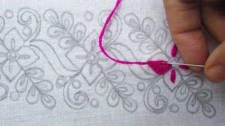 Hand Embroidery, Beautiful Border Line Embroidery for Blause, Border Design