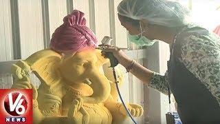 Pollution Control Board Busy In Making Of Eco Friendly Ganesh Idols | Hyderabad | V6 News