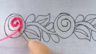 hand embroidery super easy border design for dress|border line hand embroidery