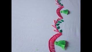 Hand embroidery. Hand embroidery stitches for beginners.  Borderline embroidery.