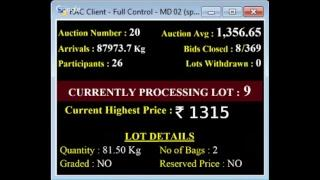 SPICES BOARD BODI - E AUCTION LIVE  VGCPC 29/11/2018
