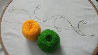 Hand Embroidery Nakshi kantha Border line -1 design | Easy & Simple Border line stitch