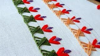Hand embroidery designs. border line design tutorial for beginners.by nakshi katha