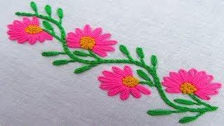 Hand Embroidery, Easy Flower Border Line Embroidery Design