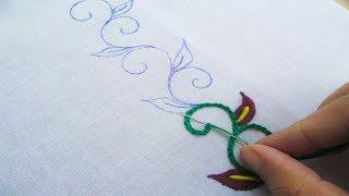 Hand Embroidery; Border Line Design; Chain Stitch/Bullion Knot Stitch