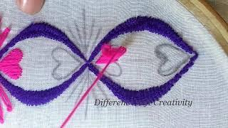 Hand embroidery beautiful and easy border line stitching tutorial,Neck line border line embroidery