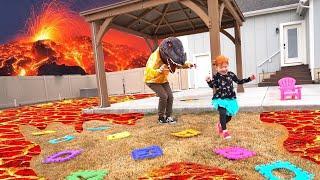 Lava Monster!! THE FLOOR IS LAVA CHALLENGE 2  (new backyard board game)