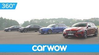 Tesla Model S v BMW M760 v Audi RS 6 v Mercedes-AMG E63 - 360 DRAG RACE