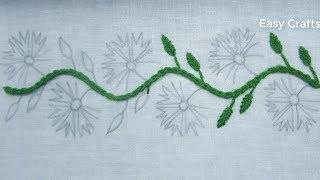 Modern border line embroidery design tutorial,hand embroidery