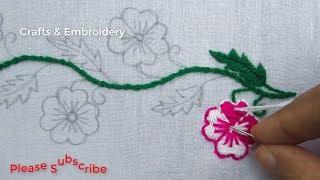 Hand Embroidery, Latest Border Line Embroidery Tutorial, New Border Design