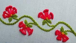 hand embroidery floral border line embroidery for dress