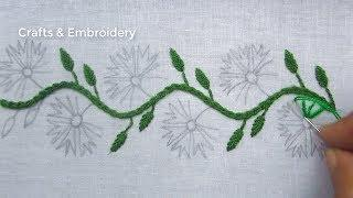 Hand Embroidery, Simple Border Line Embroidery Design, Easy Border Embroidery