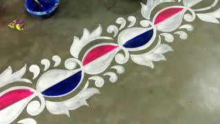 Quickly line border designs || Easy side kolam designs || Border Alpana designs