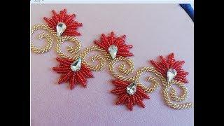Hand embroidery,Modern border line embroidery design.