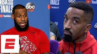 LeBron James and JR Smith react to video of Cavaliers bench after Game 1 going viral   ESPN