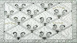 Latest nokshi katha design with border line drawing by art &  craft