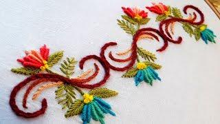 Hand embroidery designs. border line tutorial by nakshi katha.