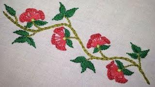 hand embroidery floral border line embroidery designs for dress by Suma Embroidery