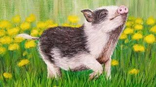 Pig Acrylic Painting LIVE Tutorial #yearofthepig