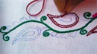 Hand Embroidery,New border line embroidery,Border line design video  tutorial,crafts & Embroidery