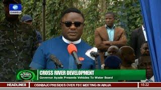 Governor Ayade Presents Vehicles To Water Board