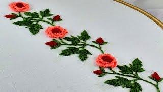 Hand Embroidery | Beautiful Border Line Design | Brazilian Stitch | Rose Flower Embroidery Design.