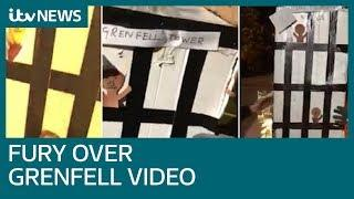 'Disgusting' video shows group burning model of Grenfell Tower   ITV News