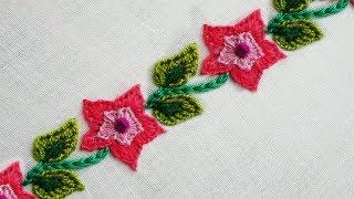 hand embroidery: latest style border design |easy border line embroidery